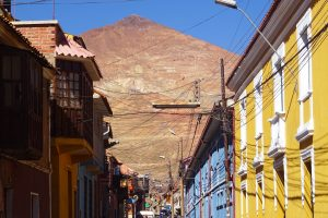 The view of Cerro Rico from the streets of Potosí