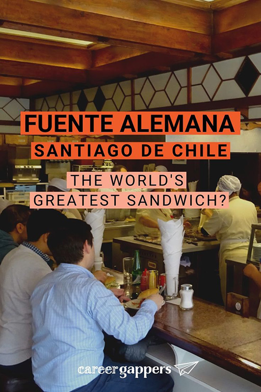 Fuente Alemana Santiago is the place to find the authentic Chilean sandwich experience. Could this be the world's greatest sandwich? Here's what we thought. #santiagochile #placestoeatinsantiago #santiagorestaurants #worldsbestsandwich #amazingfood