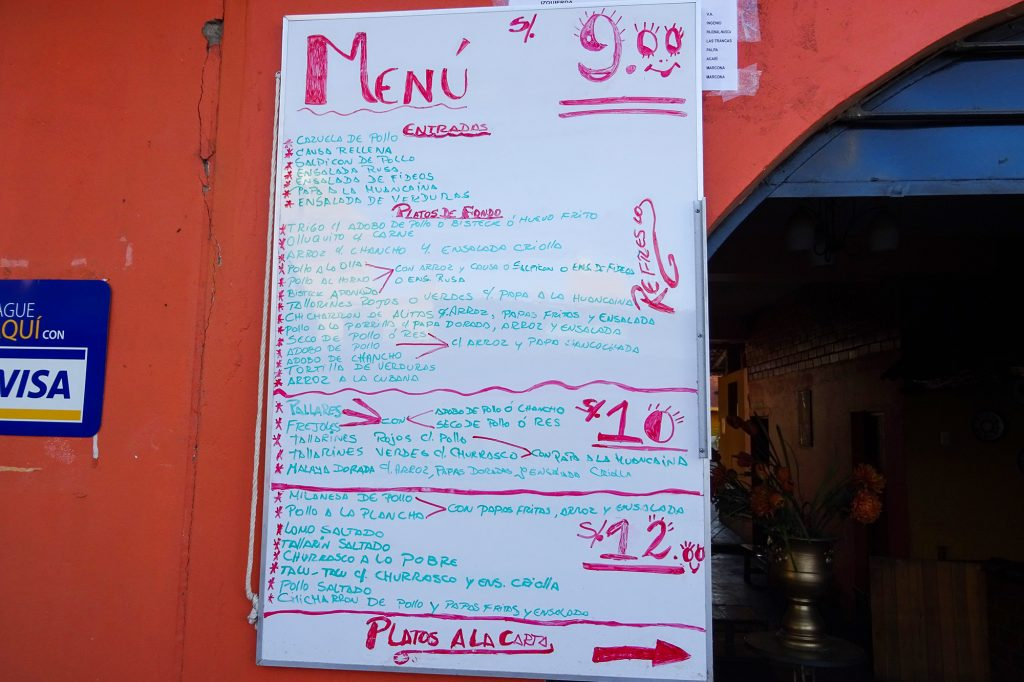 Menú del dia restaurants are a great way to eat in Peru on a budget and experience the local culture