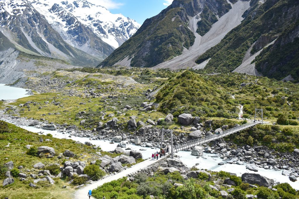 The Hooker Valley Track is a popular short hiking trail that explores the scenery of Mount Cook