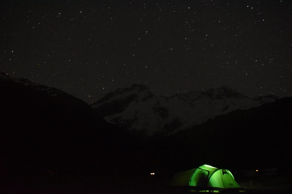 The night skies are beautiful at White Horse Hill campground near Mount Cook