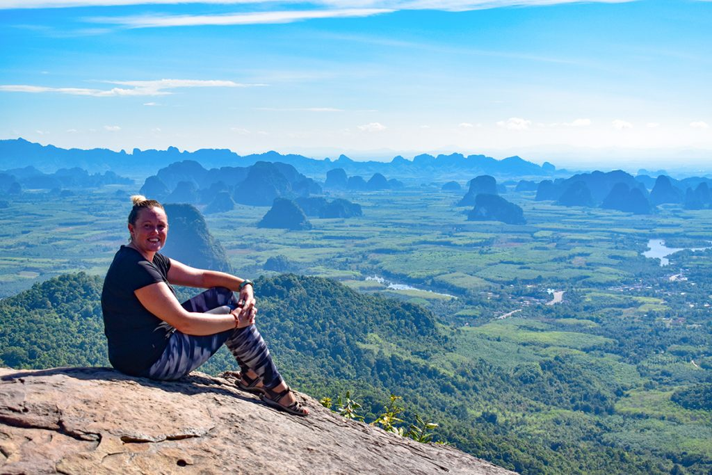 Lisa enjoying the views at the top of Dragon Crest Mountain, Krabi