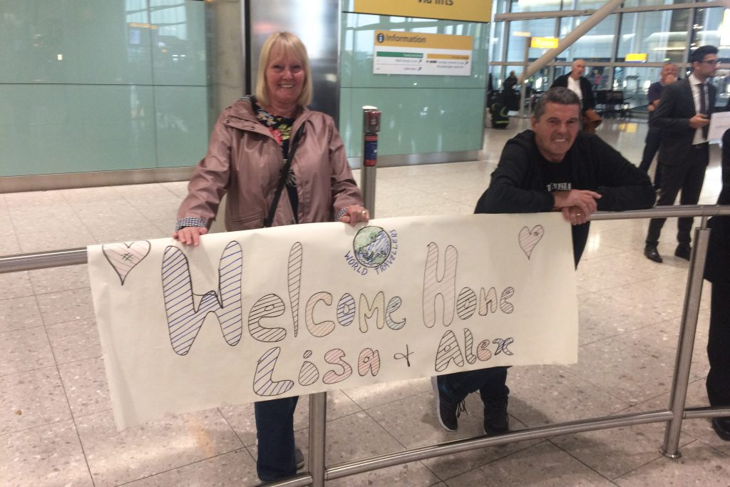 Returning home after travel: Lisa's parents were waiting to greet us at Heathrow Airport at 5:30am