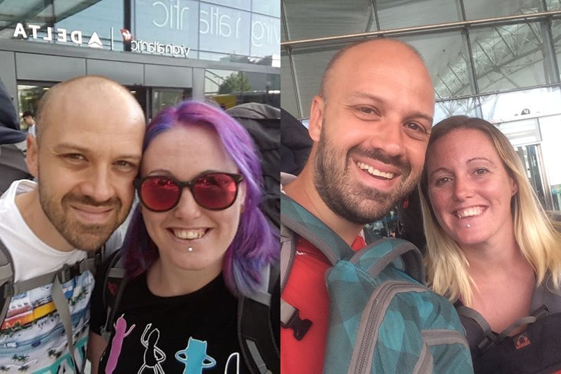 Alex and Lisa before and after travel