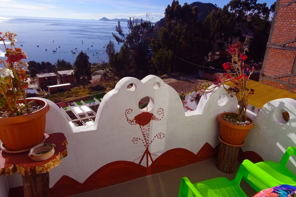 The view of Lake Titicaca Bolivia from our private balcony in Hostal Piedra Andina