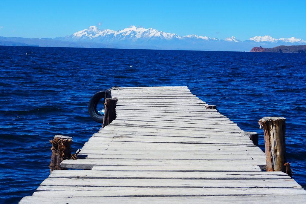 Lake Titicaca Bolivia: looking out on Isla de la Luna from a jetty on Isla Del Sol