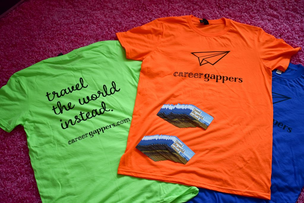 Career Gappers t-shirts and business cards ready to go for the Travel Blogger Exchange in Ostrava, Czech Republic