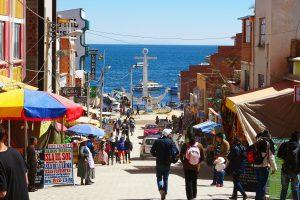 Lake Titicaca Bolivia style: the White Anchor monument at the bottom of Avenida 6 de Agosto, Copacabana
