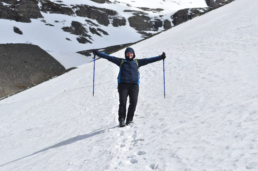 Lisa traversing Glacier Martial in her favourite Jack Wolfskin 3-in-1 jacket