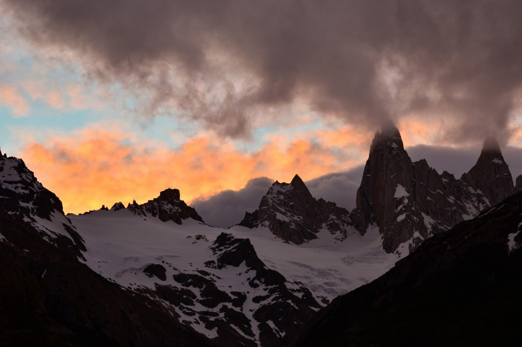 Mount Fitz Roy is famous for its image in sunrise, but it's beautiful at sunset too