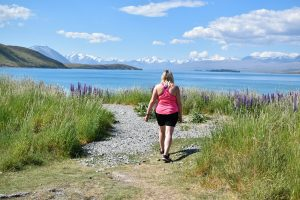Taking a lake break on our road trip of New Zealand's South Island