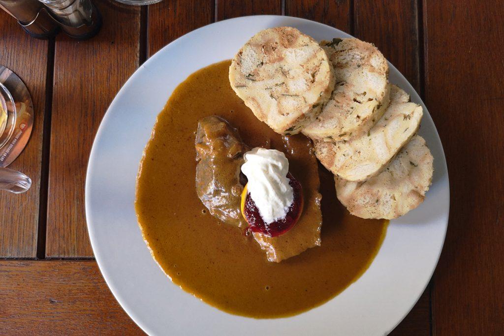 Svíčková na smetaně is a classic Czech dish that is also popular in Slovakia