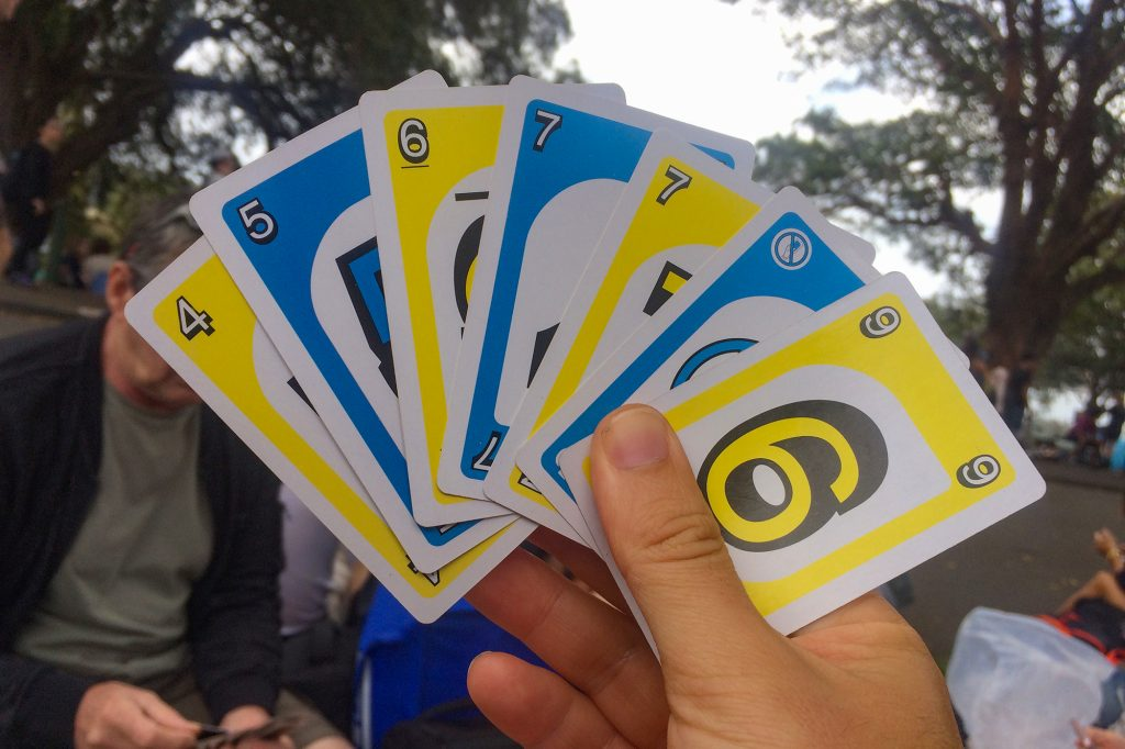 We whiled away the hours at Mrs Macquarie's Chair on New Year's Eve with a pack of Uno cards