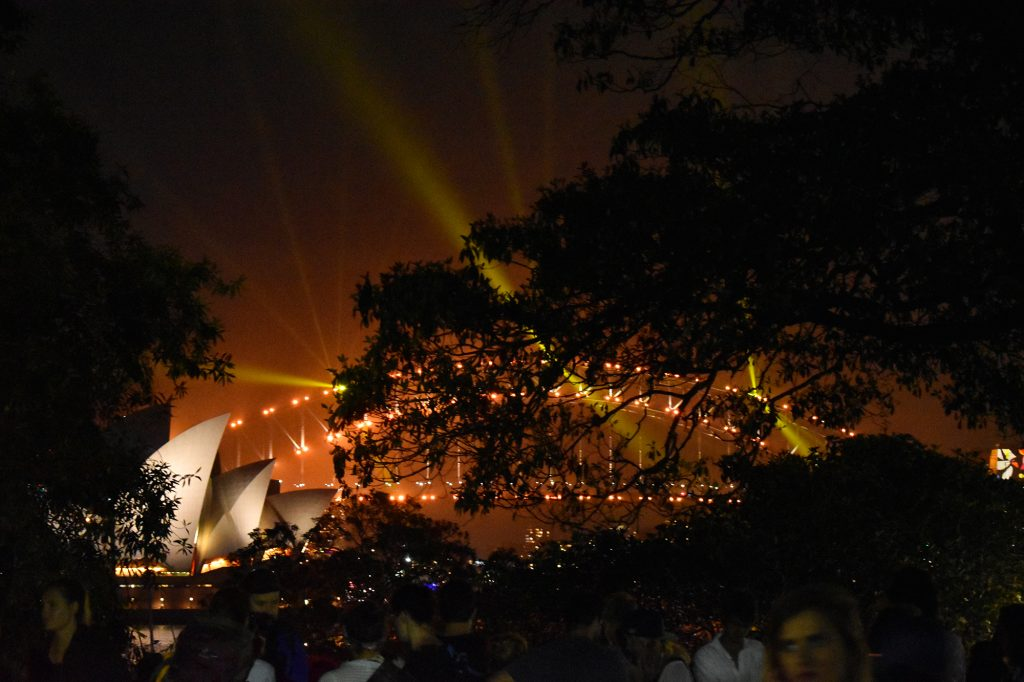 The entertainment schedule on Sydney Harbour during New Year's Eve includes a light show