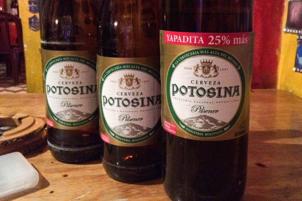 Potosina is one of the cheap local beers to be found in Bolivia