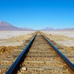 Train tracks in Salar de Uyuni, Bolivia