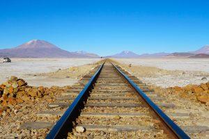 Train tracks in Salar de Uyuni, Bolivia