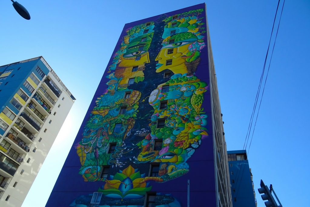Spring Equinox by artistic duo Un Kolor Distinto is the tallest mural in Valparaíso