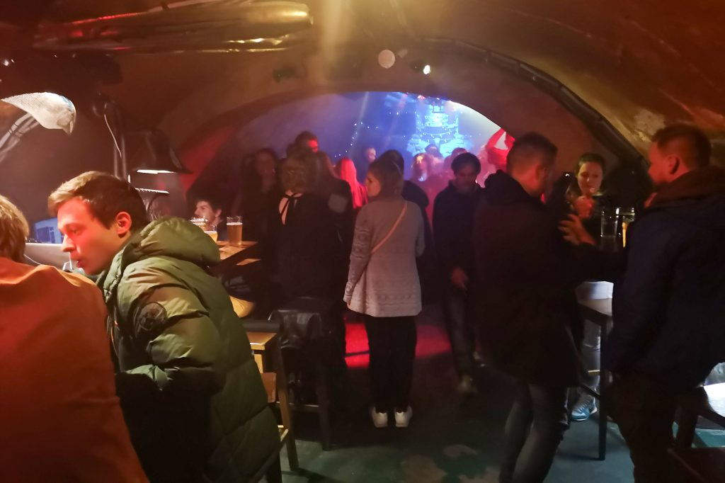 Bix Baras, a rock bar with a dance floor in its basement, serves Lithuanian beer