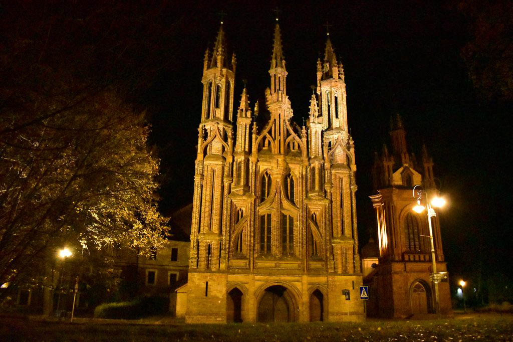 The Church of St Anne in Vilnius looks extra impressive in night lighting