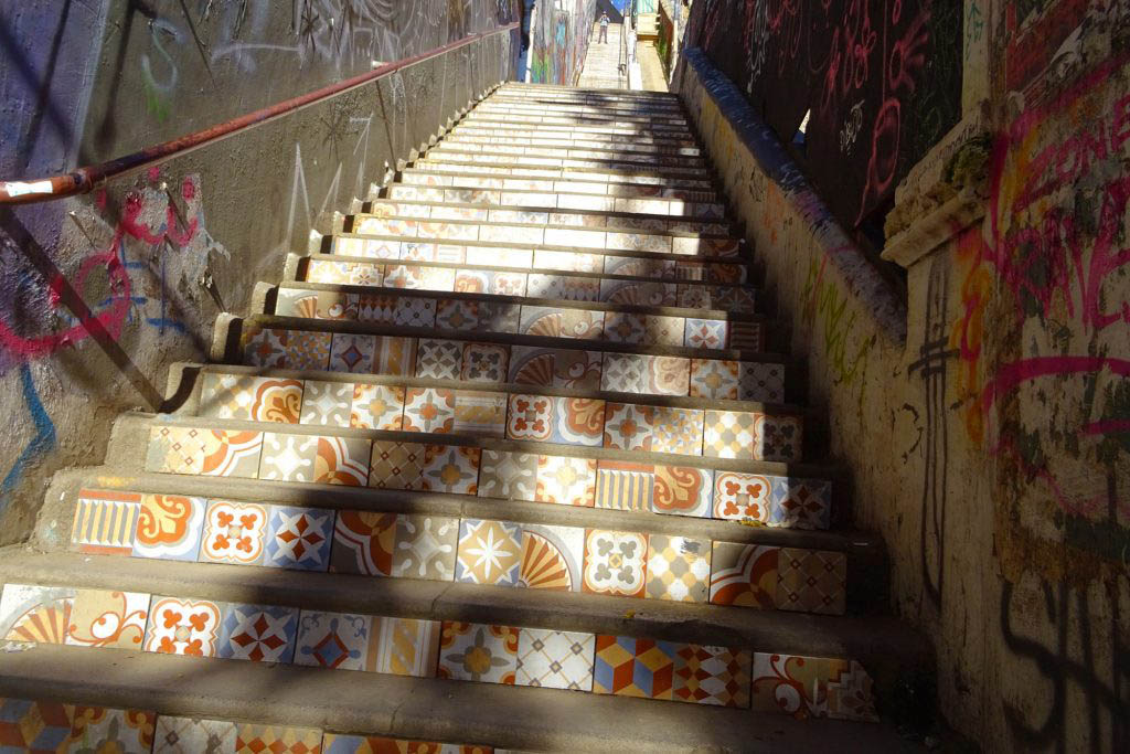 One of the famous mosaic staircases in Valparaíso