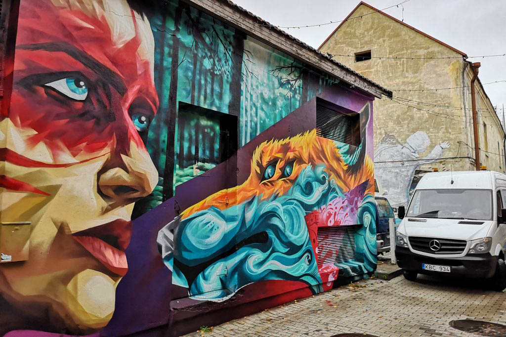 Street art murals in the Užupis neighbourhood of Vilnius