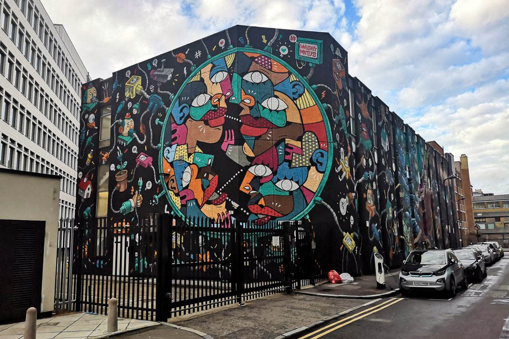 The mural on King John Court created by Global Street Art is the largest in the UK