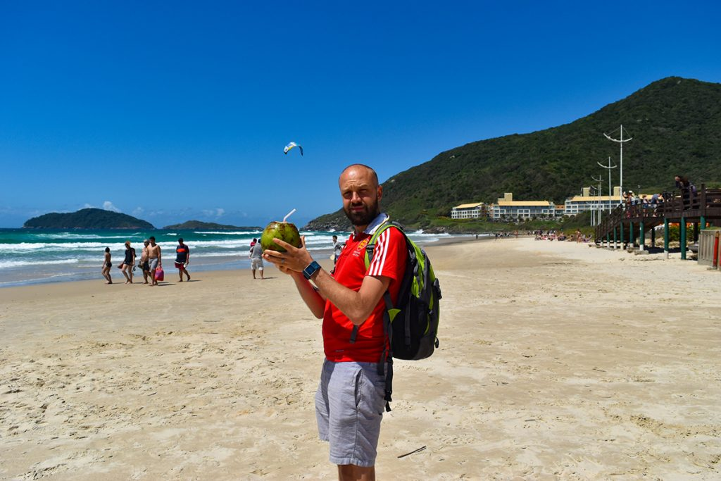 Praia do Santinho is a great beach for walking and running, with a hard sand surface