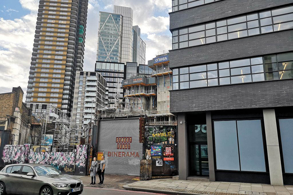 A new multi-use development is being constructed at the site of the old Curtain Theatre in Shoreditch