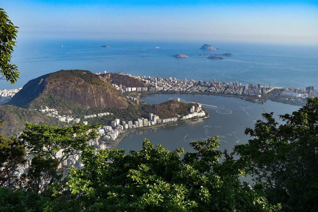 Views of Brazil's Atlantic coast from the statue of Christ the Redeemer