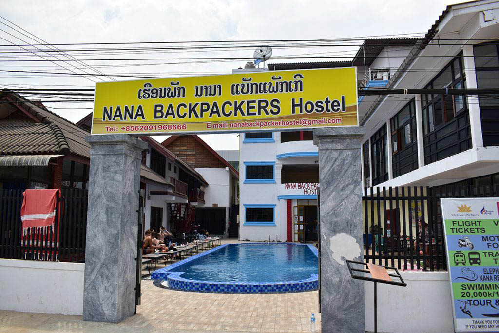 Nana Backpackers is a lively hostel in Vang Vieng with a pool bar and restaurant