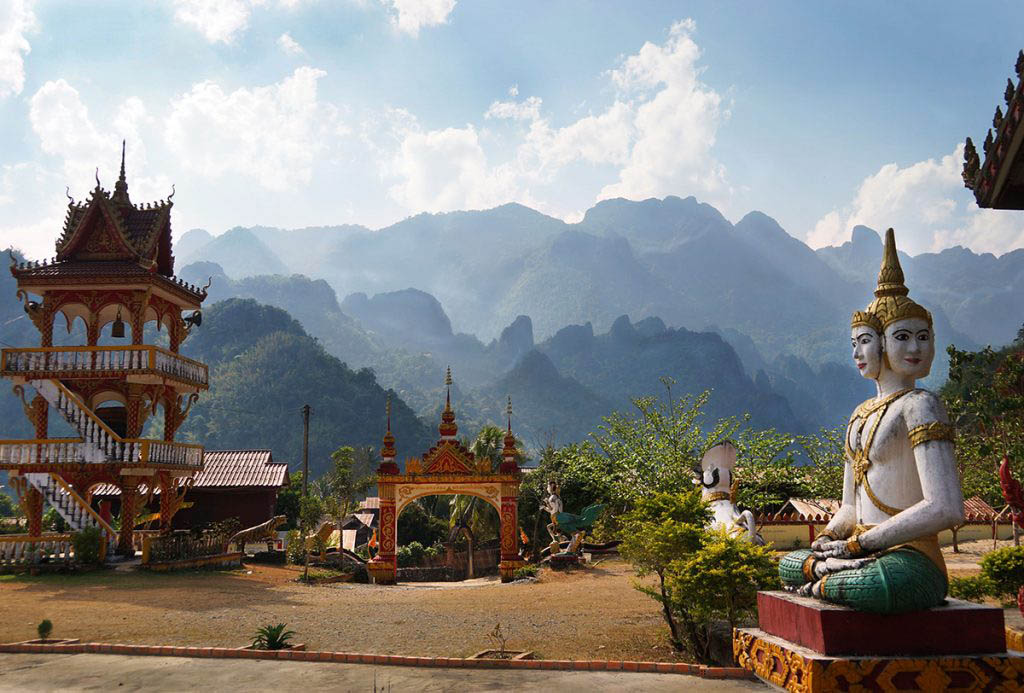 Buddhist temple complex in the village of Ban Pha Tang near Vang Vieng