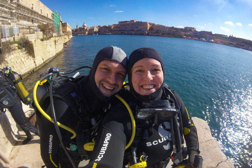 About to get in the water for our second dive of the day with Watercolours Dive Centre