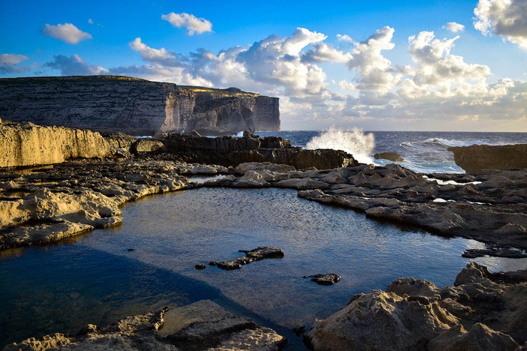 The site of the Azure Window ruins in Dwejra, Gozo, is a fantastic spot for sunsets