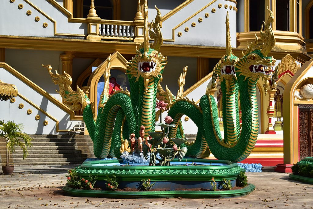 A dragon sculpture inside the complex of the Tiger Cave Temple Krabi