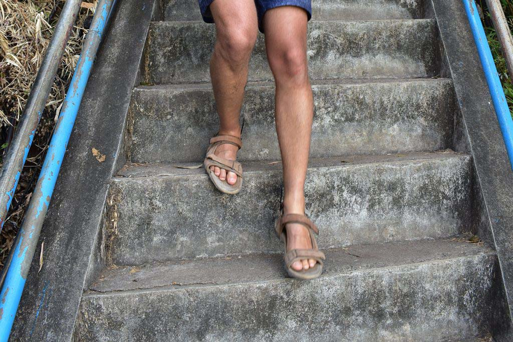 In some of the steepest sections, the steps are over a foot high