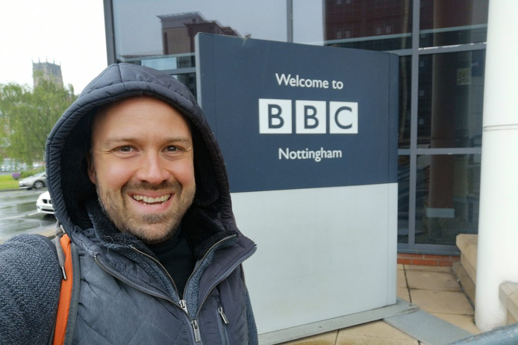 Alex at the offices of BBC Radio Nottingham, a local station in the Midlands, UK