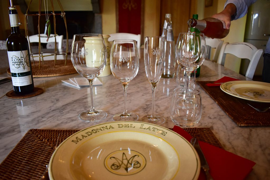 Madonna Del Latte has an indoor room and an outdoor terrace in the vineyards for tastings