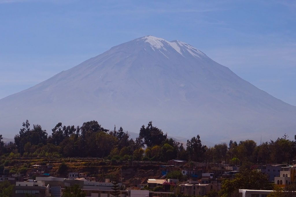 Misti Volcano looms large over the 'white city' of Arequipa in southern Peru