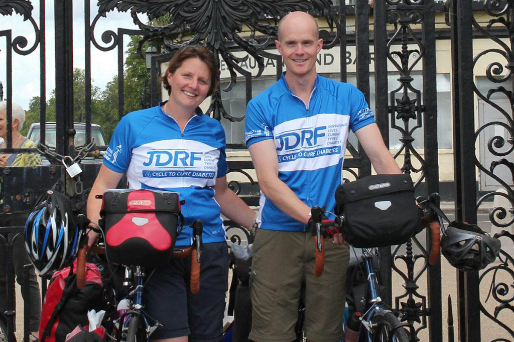 Laura and Tim at the beginning of their 13,000-mile cycling adventure in 2013