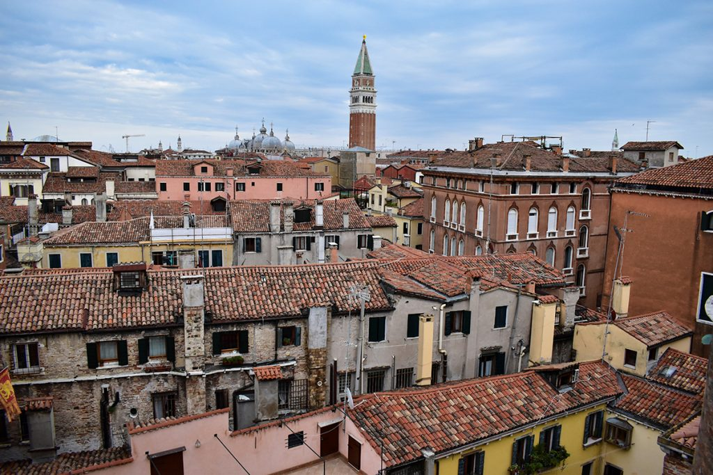 The view over Venice's rooftops from the top of Scala Contarini del Bovolo