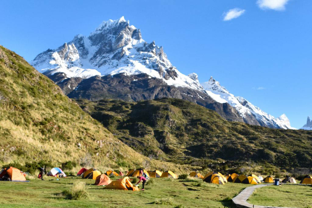 Where to stay in Torres Del Paine: Camping and Refugio Paine Grande has a stunning lake and mountain view