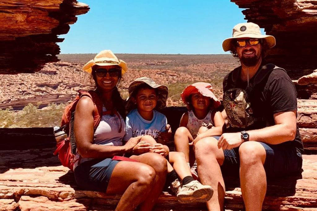 Sharonika and the family at Nature's Window in Kalbarri National Park