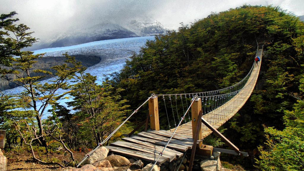 Suspension bridge in Torres Del Paine National Park