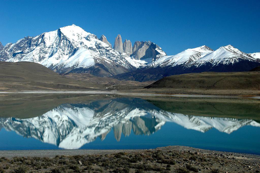 Torres Del Paine view across Laguna Azul
