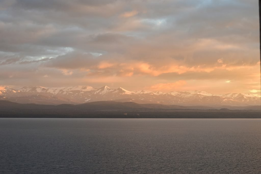 Sunset views over Nahuel Huapi lake from Bariloche, Argentina