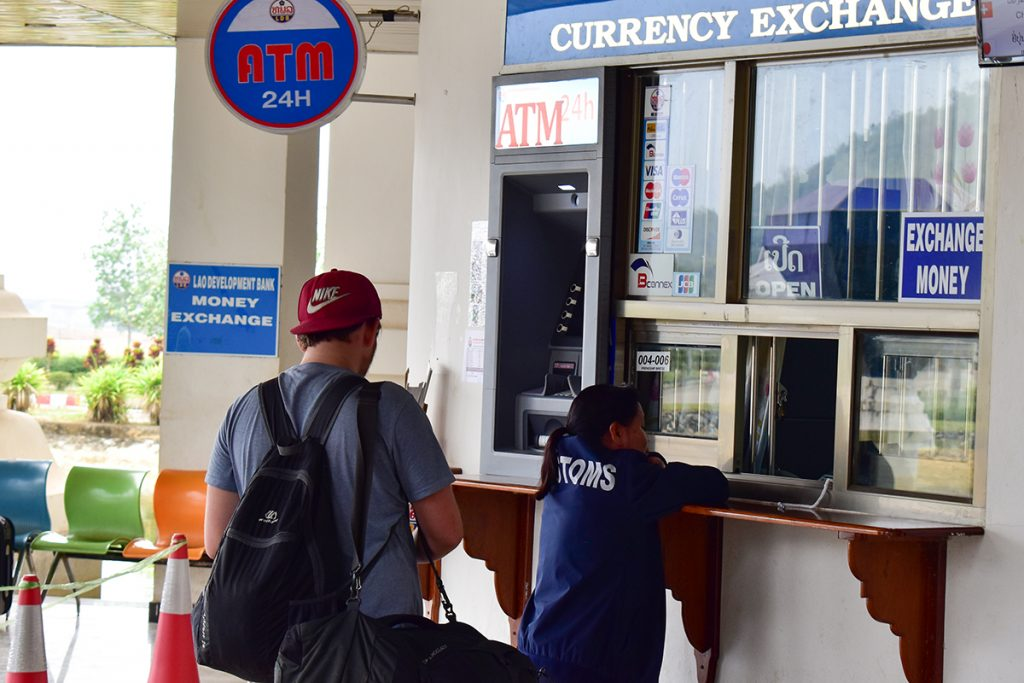 ATM and currency exchange on the Laos–Thailand border
