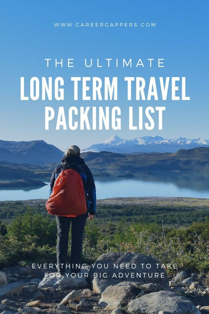 If you're planning a round-the-world trip on a gap year, career break or sabbatical, this long term travel packing list covers everything you need to take. #packinglist #travelpackinglist #whattopackfortravel #travelchecklist #travelstuff