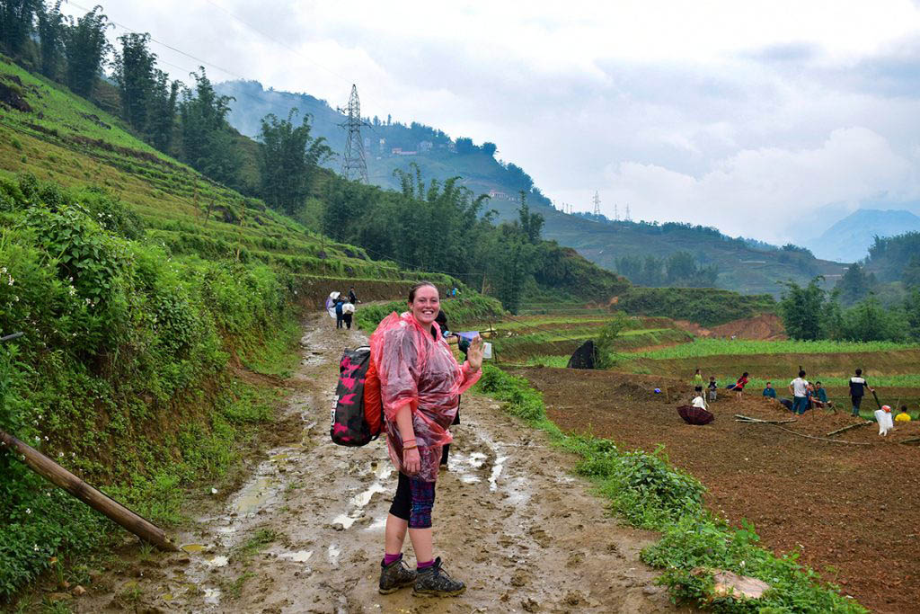 Lisa trekking in Sapa, rural Vietnam, towards then end of our travel career break