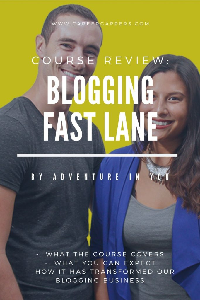 This Blogging Fast Lane review explains what you can expect from the blogging business course created by successful bloggers Adventure In You. #blogging #bloggingcourse #makemoneyblogging #blogincome #bloggingtools